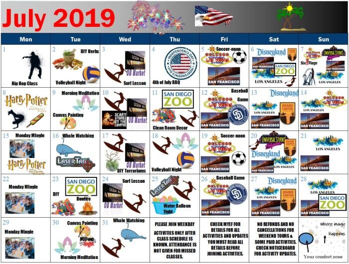 Activitati luna iulie scoala EF San Diego 150321
